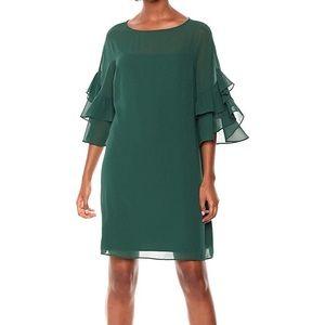 Vince Camuto green sheer yoke lined sheath dress